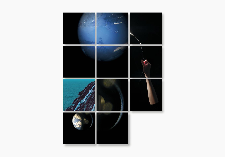 une fenêtre de rêve aux tonalités aquatiques - Linda Bujoli - Photographe plasticienne - une fenêtre de rêve photographique - Un Tableau Pour rêver - œuvre modulaire photographique - galerie Artligue - œuvre méditative